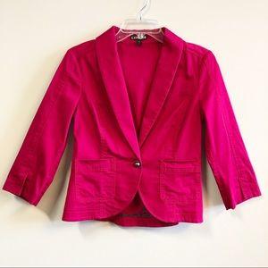 Women Express Hot Pink 3/4 Sleeves Blazer Size 6